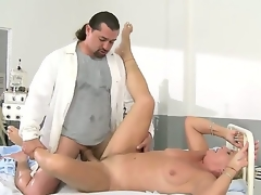 Granny Helen with blonde hairy slit fucking with long haired doctor in the hospital
