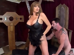 This wild blonde milf Darla Crane is one sexy piece of ass, letting her giant billibongs show in a leather corset as shes on all fours with Jack Vegas licking her juicy big ass!