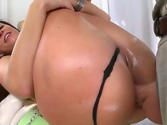 India Summer slobbering and horny while blowing and deep-throating a biggest white pecker that later goes deep into her taut but stretchy a-hole.