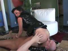 Hardcore MILF fantasy. Staring porn star Christian XXX and Raquel Devine. This is one hot movie. Just sit back and watch as this older woman squats over this studs face, and acquires him to lick her tight pussy. Then this babe forces him to engulf on her strap on, before this babe inserts her finger, deep in his ass.