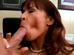 Seductive dark brown pornstar Devon Michaels gets seduced by the Johnny Sins. This prepossessing milf with a big and tasty milk sacks gets kissed and starts to sucks her partners cock.