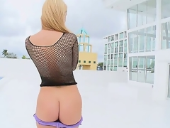 We brought in the sexy Jessie Rogers and I think this might be the sexiest ass I have seen. She walk around the pool and began to stroke my buddy.