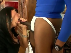 This cold bitch sucks a huge dick right in front of her filming husband, and that babe enjoys it, too. Just look at the way that babe slobbers on that thing. What a filthy little slut.