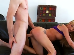 Amy Brooke is beautiful, her blond hair shines and petite butt looks inviting, so much so in fact that Jordan Ash decides to bow her over and fuck her with thickness doggy style.