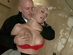 Sadistic dominant pornstar Mark Davis likes to play and have joy with provocative blonde Jagger Jordan with biggest knockers in red underware in coarse face hole fucking thraldom action