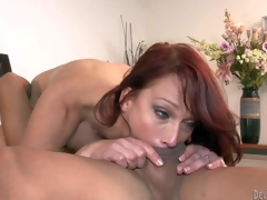 Nikki Hunter is a red-haired sexy mature babe with juicy tits. She bares her assets and takes oriental fellows hard exotic rod deep in her mouth. She gets her pussy licked after rod sucking