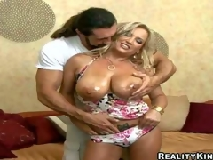 Arousing seductive and lusty blond milg Rachel Love with enormous soaked gaozngas in summer costume teases lengthy haired stud with hot muscled body and receives down to suck his lengthy sausage