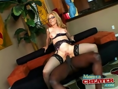 Milf Nina Hartley rides dark penis in sexy underware