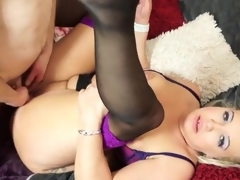 Curvy mature blond in lingerie fucked doggystyle