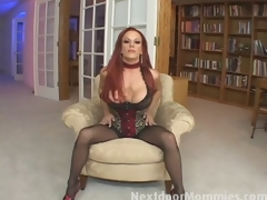 Redhead mom swallows cum from a big cock