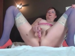 Masturbating older sweetheart in blue nylons