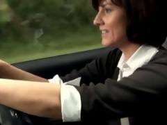 Sexy milf masturbates in her car