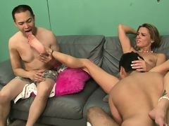 Blonde slut forces her man to see as she gets fucked real hard