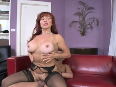 Breasty mature redhead rides her new son in laws stiff boner on the daybed