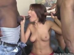 Hot Dana dArmond fucks 2 black men