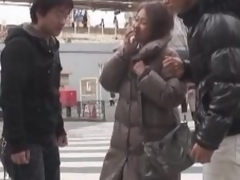 Oriental milf has a three-some with two excited men