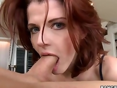 Redhead MILF Joslyn James is stylish and skillful . She gives outstanding tugjob and takes dick in her mouth before she makes it vanish in her hungry pussy.